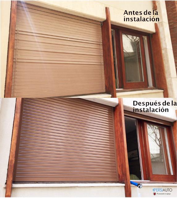 Antes y después instalación persiana seguridad