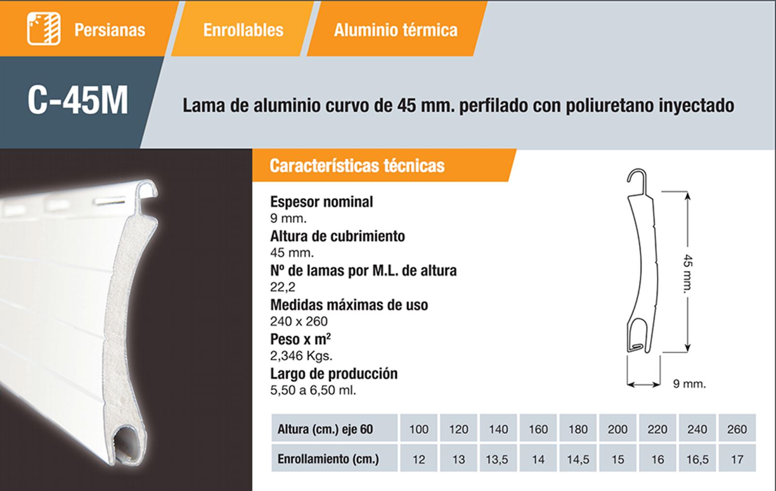 Características persiana alumino C45