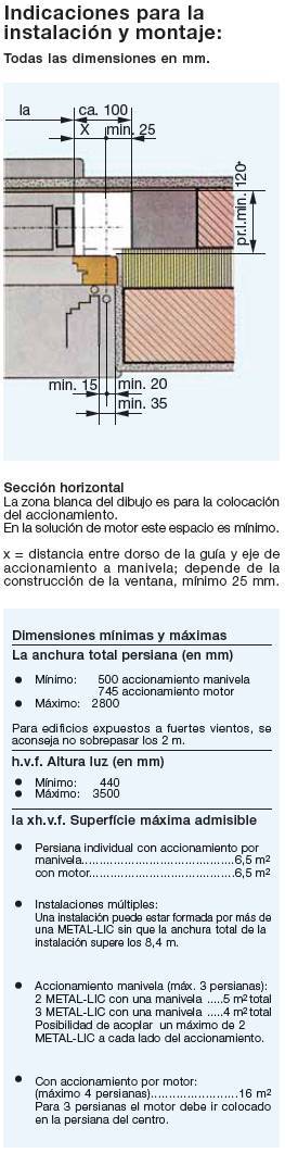 Indicaciones instalación Metal·lic
