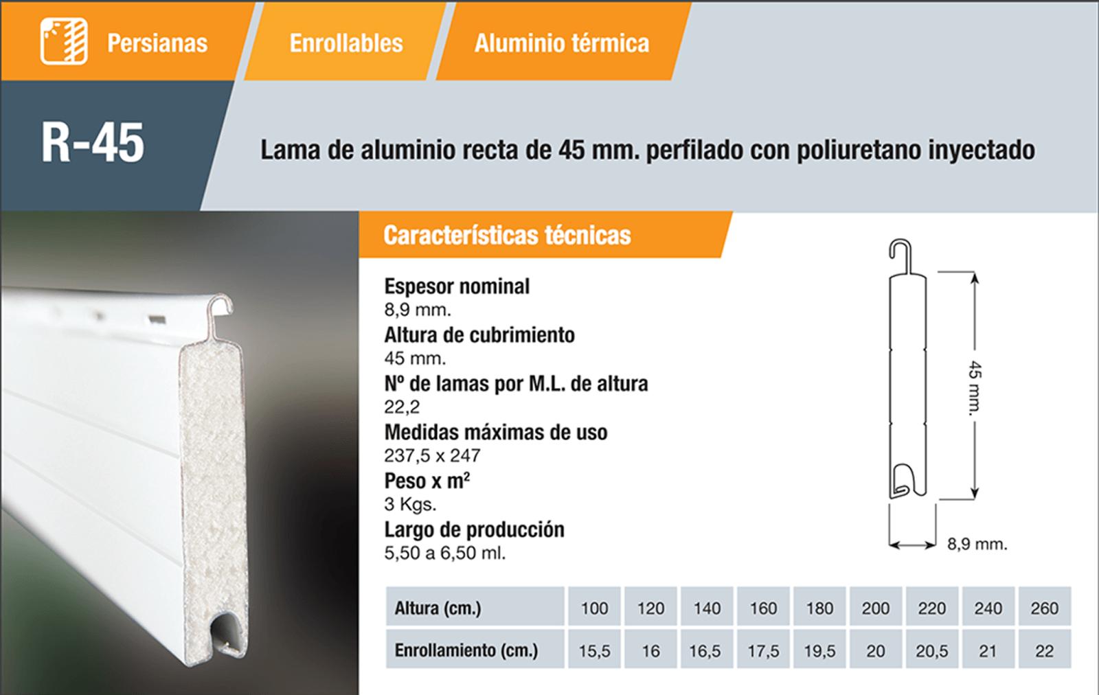 Persiana aluminio R45