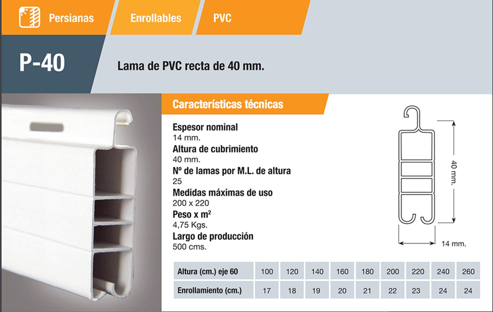 Características persiana PVC Roma 40